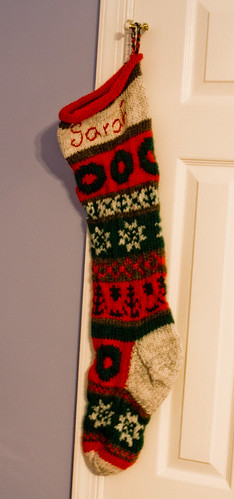 Christmas Miracle Stocking  / Knit in Brown Sheep Lambs Pride and Berroco Metallic FX / Size 10.5 needles