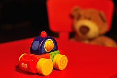 Toy-car feels... observed (PegaPPP) Tags: bear christmas wood blue red stilllife baby art car toy 50mm rojo teddy f14 feel wheels police 50 emotions rosso observed orso pega macchinina orsetto giocattolo theunforgettablepictures overtheexcellence