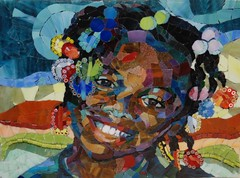Fabulous Hair (Carol Shelkin, Artist) Tags: portrait black art philadelphia glass beautiful smile happy artist child african mosaic  mosaics stainedglass stained human tiles littlegirl browneyes vitreous millefiori commissions barrettes mosaicartist wwwcarolshelkinmosaicscom carolshelkin rtistmama carolsoritzshelkin carolshelkinmosaics