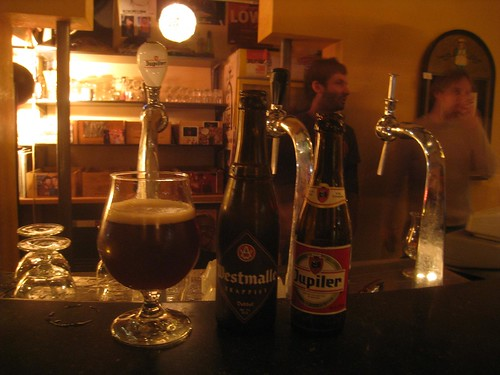 Sampling the strong Belgian beers at the hostel bar