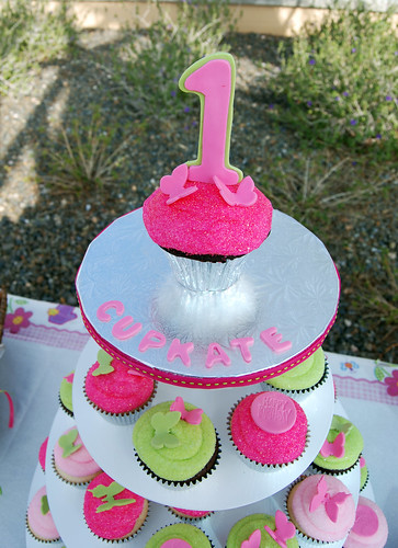 pink and green first birthday cupcake tower topper smash cake