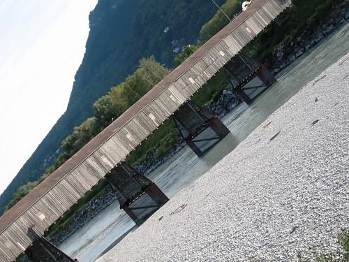 Border bridge crossing the river Rhine between Liechtenstein and Switzerland