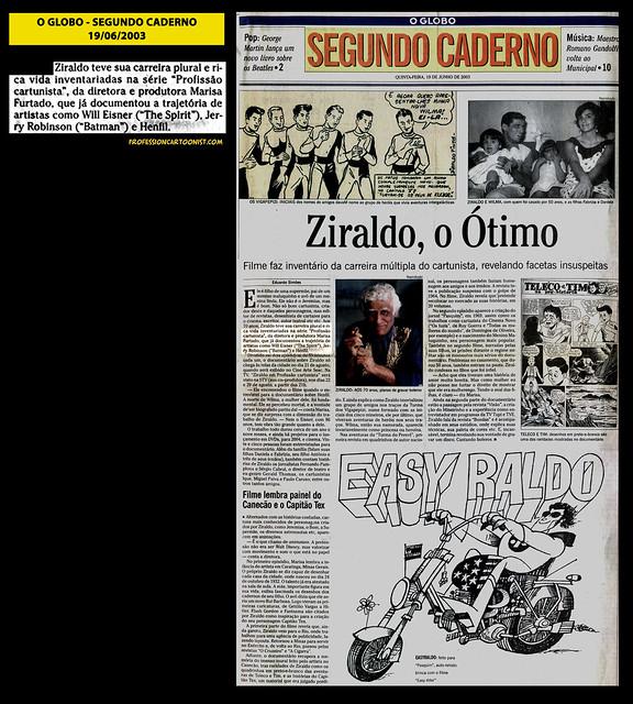 """""""Ziraldo, o Ótimo"""" - O Globo - 19/06/2003"""