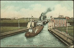 Whaleback steamer leaving the locks at Sault Ste. Marie, Ontario, Canada (ca. 1910) (Toronto Public Library Special Collections) Tags: ontario canada public sailing ships picture canadian greatlakes postcards historical steamship soo steamer saultstemarie library soolocks whaleback tpl torontopubliclibrary special canadian collection collections torontopubliclibrary specialcollections ontariohistory canadianhistoricalpicturecollection