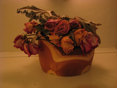Wooden Bowl with Roses