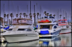 3 Boats:  White, blue and red. (Pat's Travelogue) Tags: ocean port boats pier sailing starboard redondobeach berth hulls