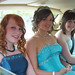 Chloe Allen, and her friends Emily Firth and Emma Green in the back of their Rolls Royce, leaving for the Prom