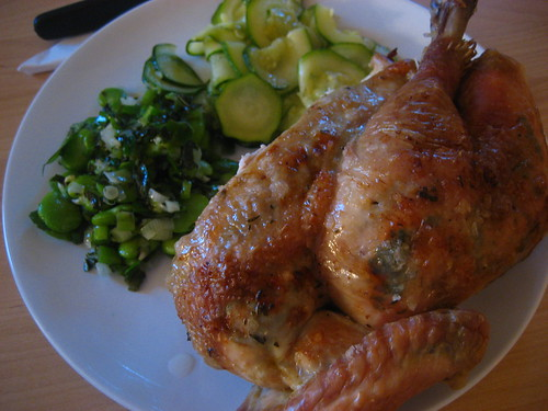 Roast chicken, broad beans and courgette