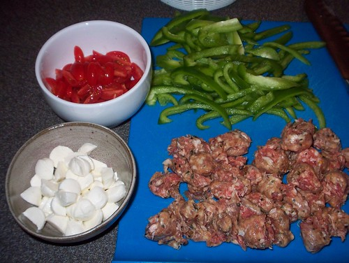 ingredients for sausage pepper pasta
