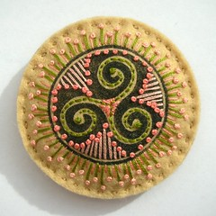 CIRCLES FELT BROOCH (APPLIQUE-designedbyjane) Tags: circle beads pin embroidery brooch felt celtic corsage saxon