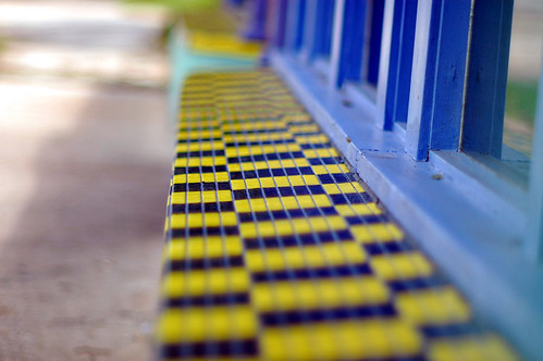 Blue and yellow checkered