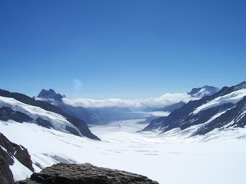Looking out across the Jungfraujoch