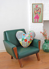 mini chair (ATLITW) Tags: flowers green art vintage chair embroidery retro blanket hart eclectic homedecor thrifted