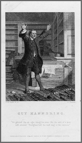005- Grabado en acero de A. Duncan de un dibujo de John Faed para una escena de la novela de W. Scott Guy Mannering 1829