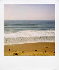 . (Rebecca...) Tags: uk people film beach polaroid sx70 watergatebay cornwall surf 600filmwithblendfilter octoberisthenewaugust
