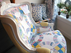 Quilt upholstered chair  C (sunshinesyrie) Tags: original folkart quilt handmade antique michigan cottage victorian craft sew gingham textile fabric cotton quilting quilted patchwork cottagestyle harborsprings upholstered ginghamcheck paintedfurniture vintagefabrics paintedchair vintagequilt vintagechair harborspringsmichigan ginghamcheckfabric paintedandreupholstered quiltupholsteredchair vvintagechair upholsteredpatchwork patriciawoodcompany