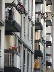 "suspended bike... ""Vlo au balcon"" (Math__) Tags: city trip bike lumix belgium belgique panasonic liege ville vlo flickrchallengewinner theunforgettablepictures"