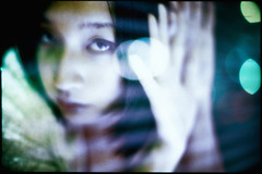 solaris (TommyOshima) Tags: blue portrait woman color reflection night 50mm takumar exhibition scifi smc solaris kk f12 jessop pentaxlx reversalfilm apocrypha cr100 tanatos autaut   kinakokocteau
