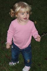 Catie in pigtails