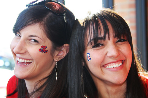 Cristina and Alethea with their Arizona face tattoos.