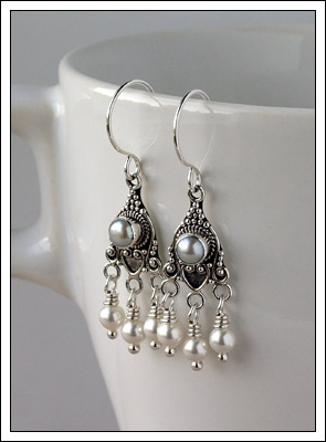 Bali silver & Swarovski pearl earrings