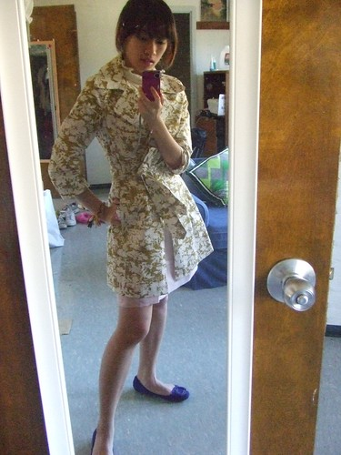 Floral Coat, Forever 21; Ruffle collared dress, ebay; Pink organza apron, Atomic Passion; Blue Flats, Nine West