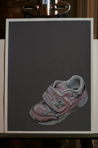 Photo of in progress drawing of two pink sneakers.