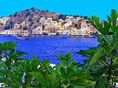 Symi island scenery (Marite2007) Tags: houses nature colors leaves architecture boats outdoors islands coast scenery colorful mediterranean aegean scenic picture hellas scene location cliffs greece destination environment coastline shores picturesque ports symi havens dodecanese