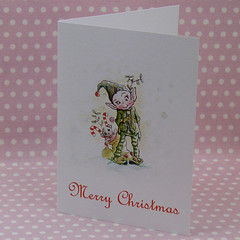green pixie card (ollerina) Tags: christmas xmas rabbit bunny art mushroom illustration vintage painting festive cards monkey buttons magic tags magnets pixie elf gifts fairy fantasy watercolour childrens etsy badges magical elves