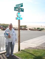 Grandma C With The Ocean And Laneda Sign (Catcher & Co.) Tags: ocean beach oregon coast oregoncoast manzanita grandmac laneda manzanitabeach manzanitaoregon oceanandlaneda