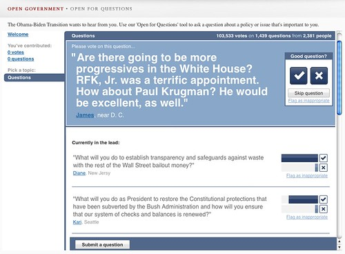 Obama's Change.Gov Site Offers Open Questions Based On Google Moderator