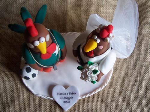 Cake topper Gallo e Gallina