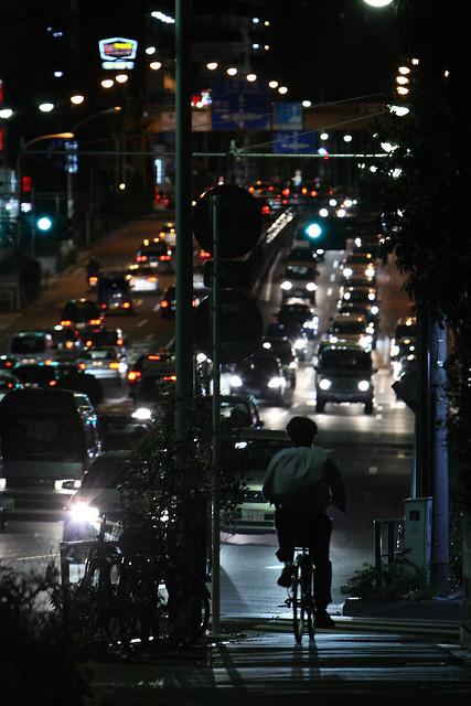 夜間の自転車走行