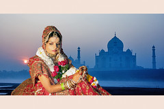 Taj at Taj Mahal  ; (dharmensingh) Tags: city girls india beautiful portraits wonder bride indian taj agra seven mahel at of tajmahel cityoftajmahal