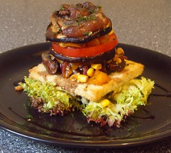Eggplant Salad Tower with Roasted Portobellos (Food Pon) Tags: food tower salad vegan corn essen eggplant toast stack onions mais planet aubergine turm salat zwiebeln champigons veganomicon gerstet