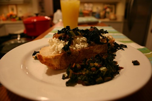 Homemade ricotta, bread and kale