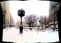 A pano of the clock on our one snowy day. by p0psharlow, on Flickr