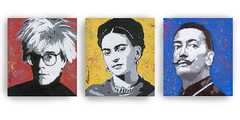 WARHOL, KAHLO, DALI (popartdks) Tags: blue original red portrait art yellow painting acrylic paintings canvas popart artists andywarhol warhol fridakahlo dali salvadordali kahlo