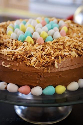 easter egg malt chocolate cake, closeup