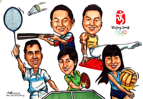 Group caricatures for Microsoft Hosting Team colour