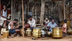 Yellow copper kettles • Madurai (Henk oochappan) Tags: madurai 2005 oochappan travel tamillifeculture asia street vaigai dam dravidian indian photography canon eos tamilnadu tamil southindia india indianphotography canon1dmarkii hu4d2351 copper kettles