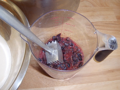 mashed blueberries