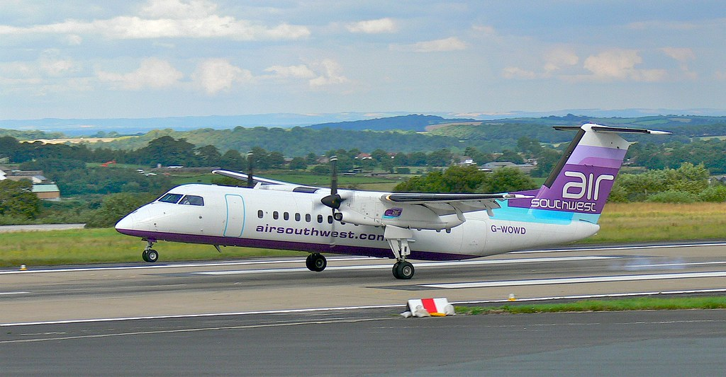 Air Southwest Bombardier Dash 8 300 landing at Leeds Bradford