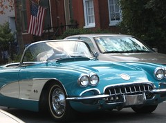 Drive By Shooting: He was driving by, I was shooting! (Kurlylox1) Tags: street old classic chevrolet car vintage washingtondc automobile shiny traffic turquoise flag wheels convertible headlights chrome rushhour collectible corvette 4thstreet relfections mywinners abigfave anawesomeshot thatsclassy