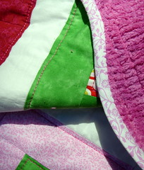 pink green quilt back, binding
