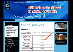 Zain Malawi - SMS text messages - Prices