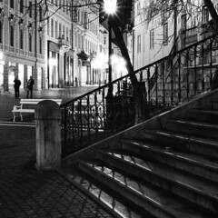 Ljubljana (Peter Gutierrez) Tags: street city shadow people urban bw white black film public night contrast dark square person evening noche photo europe european republic shadows nocturnal nacht pavement sidewalk peter slovenia ljubljana gutierrez format slovenija eastern nuit nocturne notte contrasty republika shadowy slovenian slovenians peter petergutierrez gutierrez