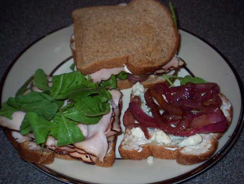 turkey blue cheese caramelized onion sandwich
