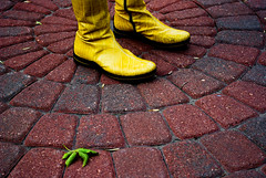 almost rainy, and missing you (zyrcster) Tags: people yellow downtown boots bricks coloradosprings flickrmeet lightroom omot utata:enddesc= kkay photofaceoffwinner photofaceoffplatinum pfogold creativecomments pfohiddengem utata:project=speaks08personal utata:entry=1 kelbyphotowalk kelbysubmission bigpictr