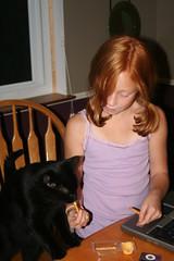 Maddie feeding Rascal